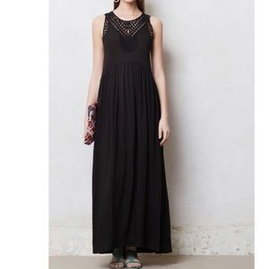 Anthropologie Mermaid Macrame Day Black Maxi Dress